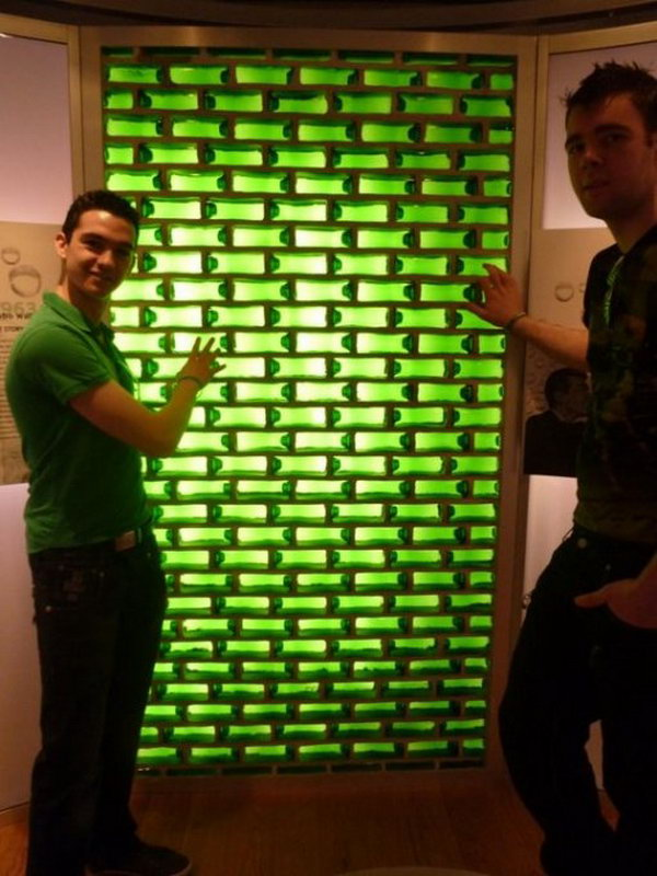 12 Use Beer Bottles As Bricks For This Wall