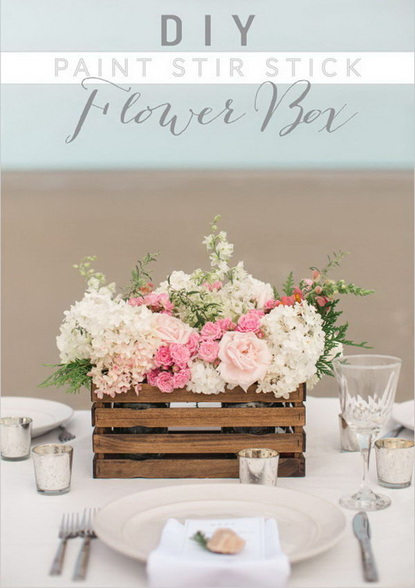 13 DIY Paint Stir Stick Flower Box Used as Centerpiece