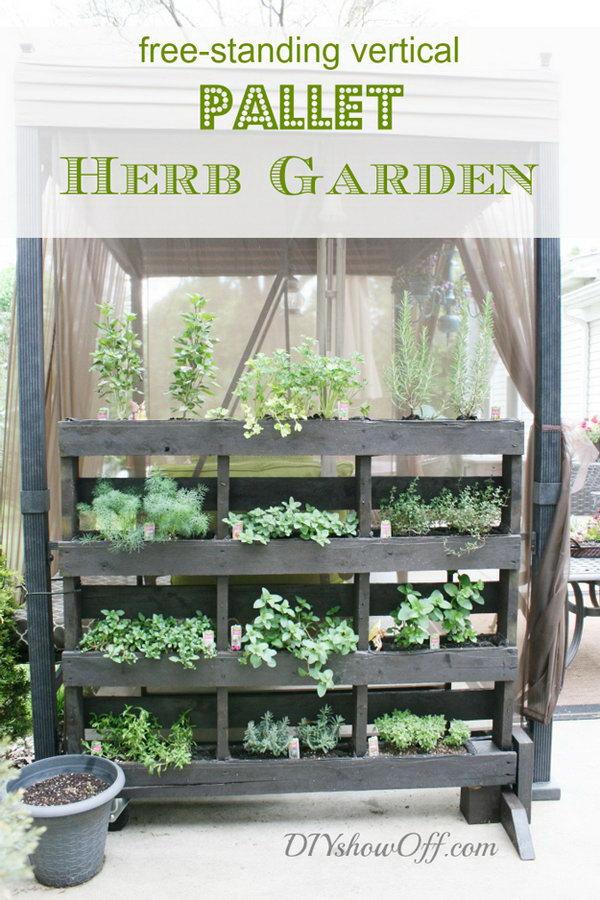 3 Free-Standing Pallet Herb Garden