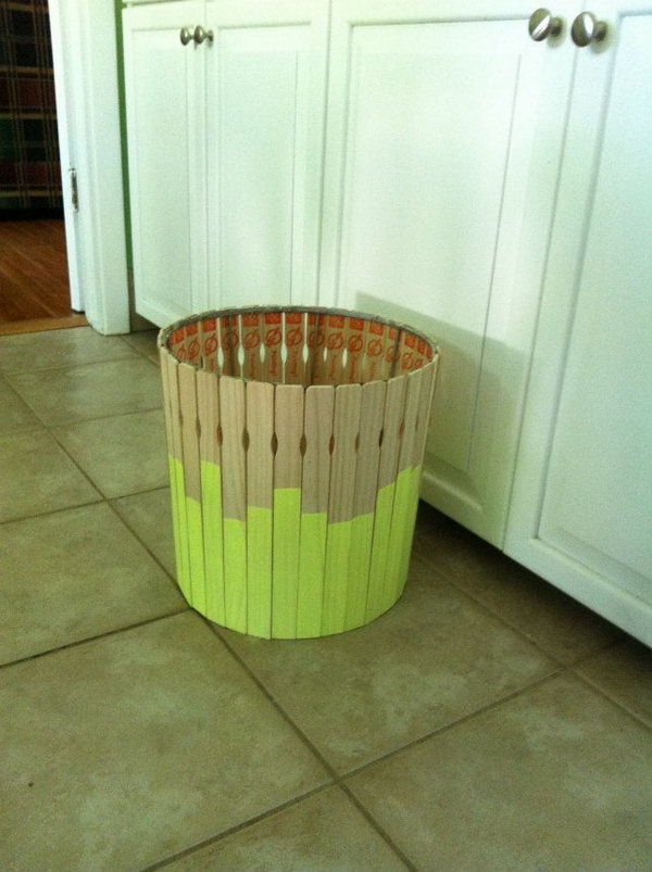 6 DIY Paint Stick Trash Can