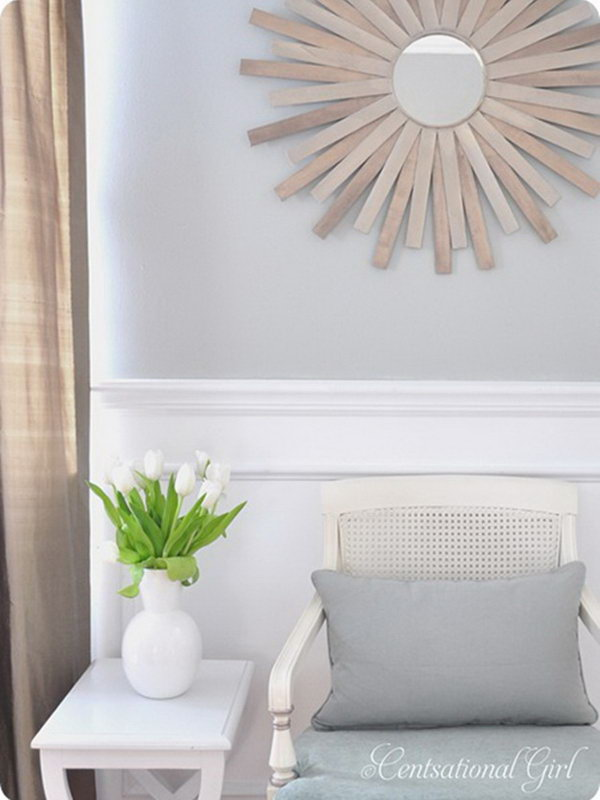 8 DIY Paint Stick Sunburst Mirror