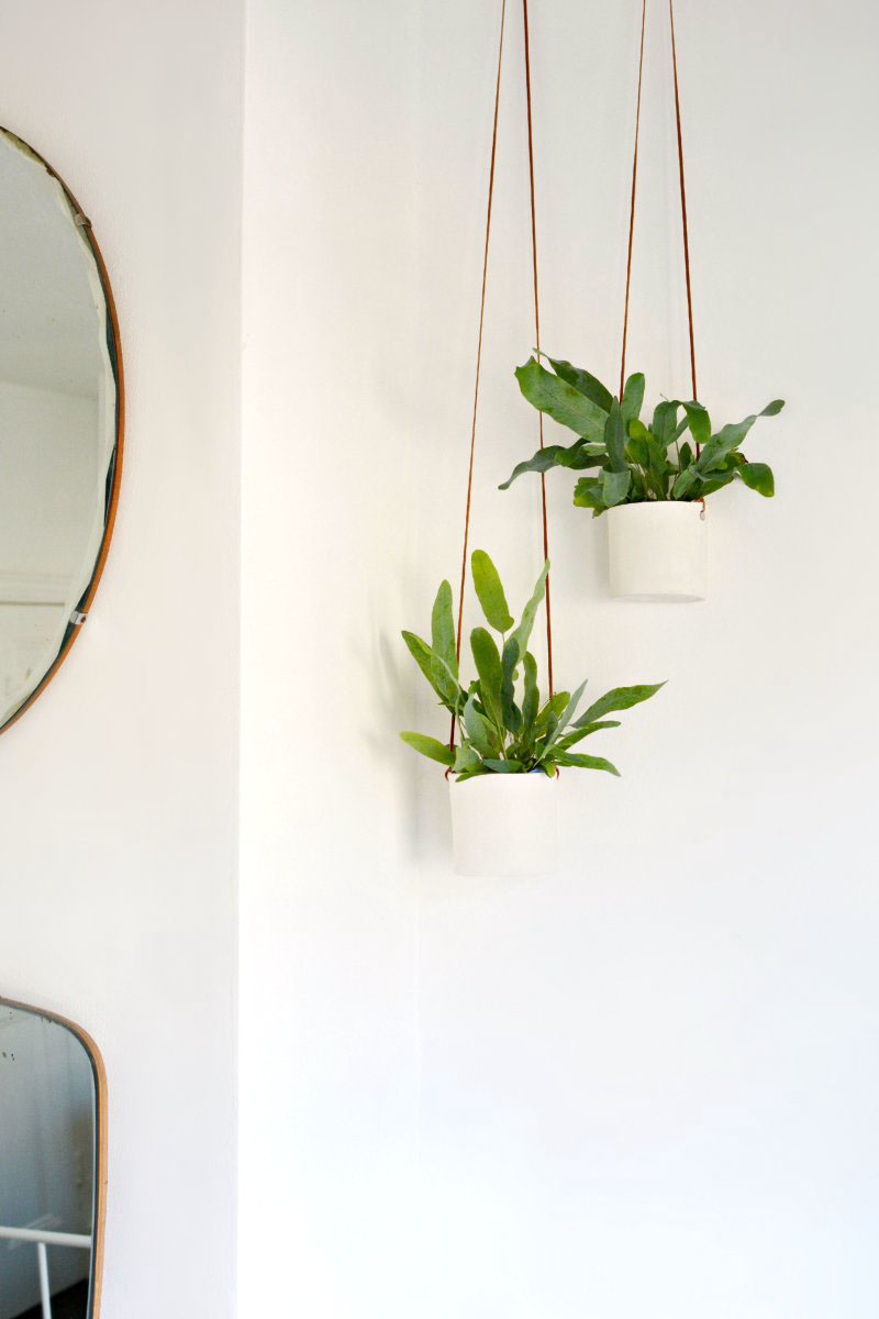 1 Leather and Clay Hanging Planters