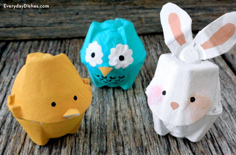 1 Make super cute egg carton animals