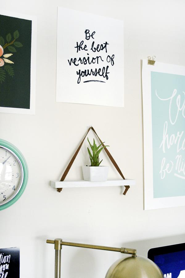16 DIY Leather Hanging Shelf