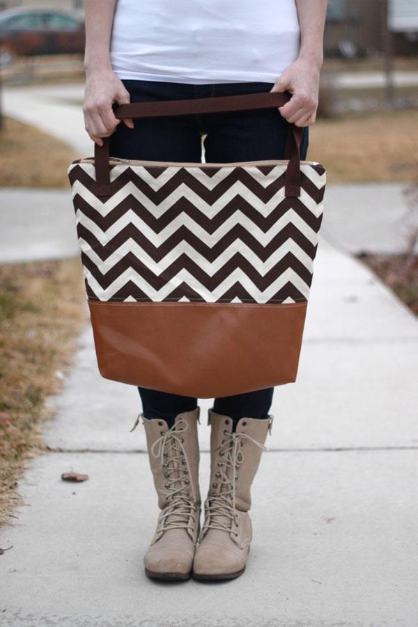 2 Leather Bottom Tote Bag