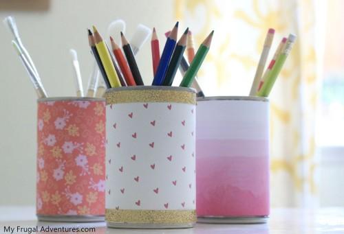 2 Tin Can Desk Organizer