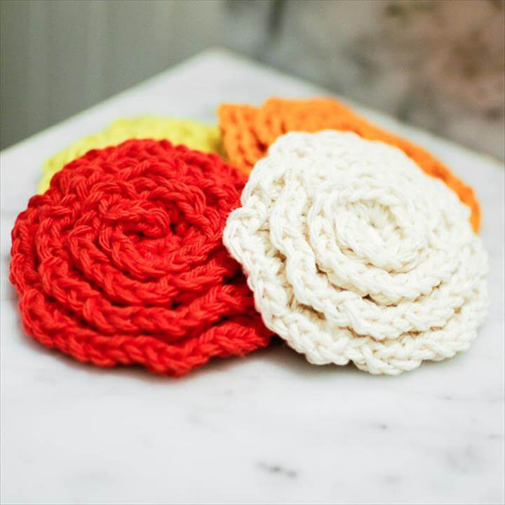 22 Crochet Flower Face Scrubby Pattern