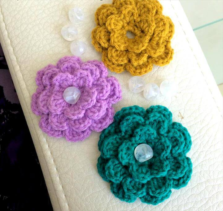 24  Crochet Flower Accent Flower For Embellishment