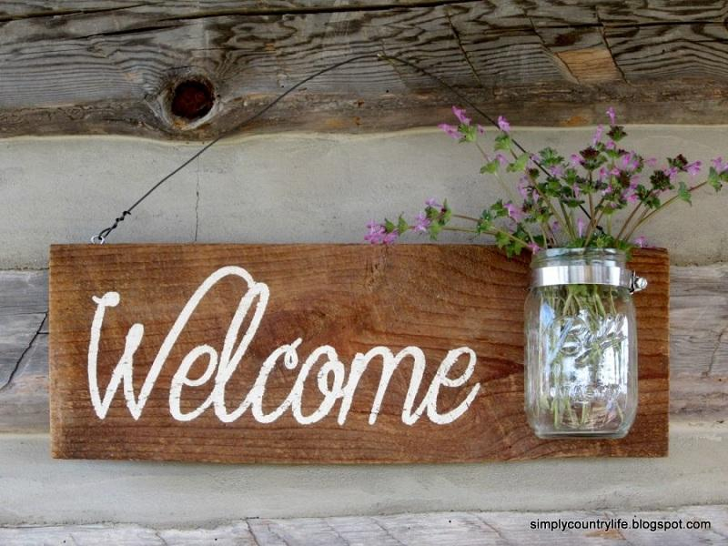 27 Rustic Barnwood Mason Jar Welcome Sign
