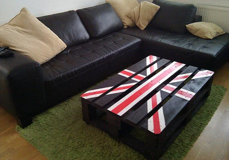 3 British Print Pallet Coffee Table