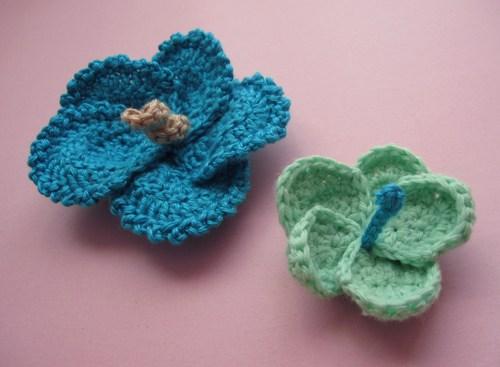 3 Crochet Hibiscus Flowers