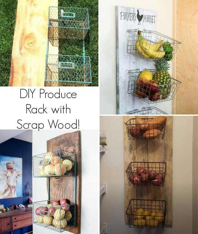 3 Hanging wire baskets for produce storage