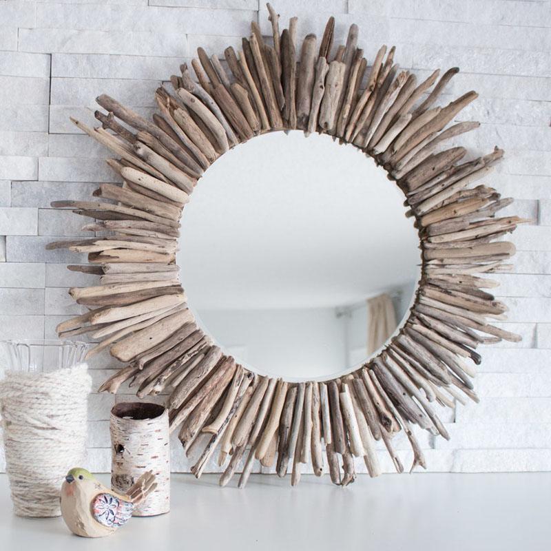 3 Starburst Driftwood Mirror
