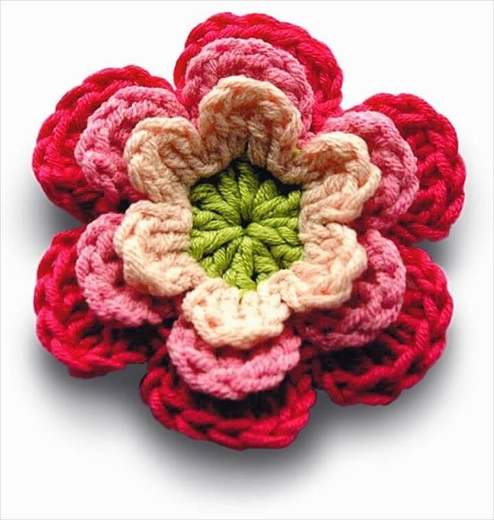 34 Crochet Colorful Flowers Pattern