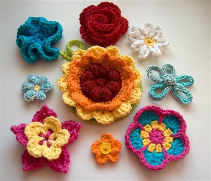 35 Handmade Crochet Flowers Colorful