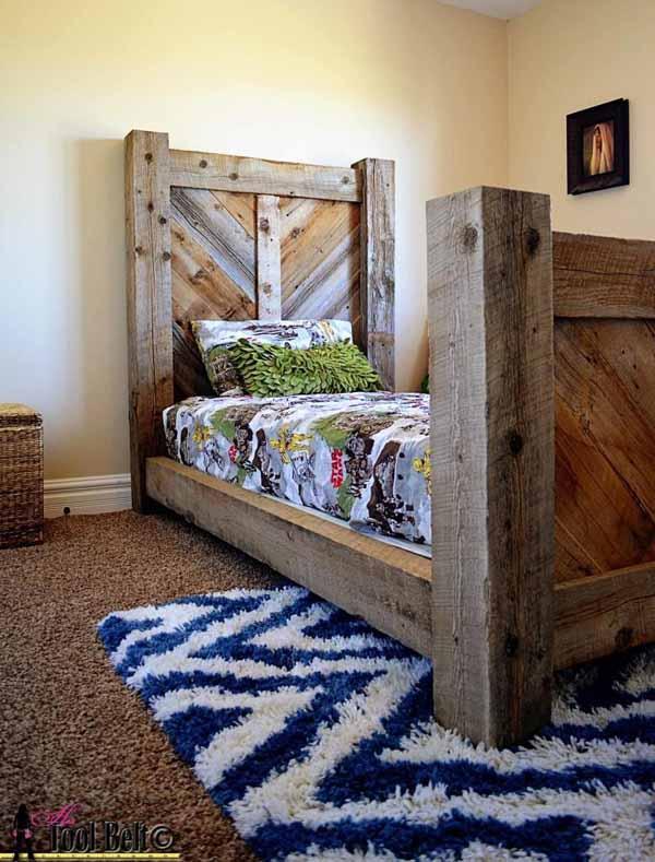 36 Rustic Barnwood Twin Bed