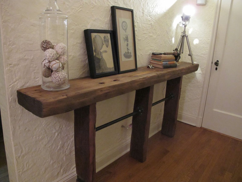 40 Reclaimed Wood and Pipe Side Table