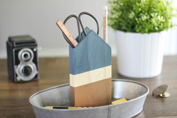68 Metallic And Wood Pencil Holder
