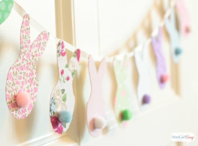 7 Use fabric scraps in colorful calico prints to make this super simple garland