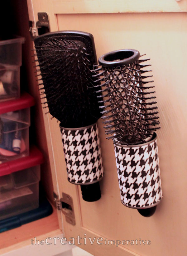 8 Hanging Hairbrush Storage from Tin Cans