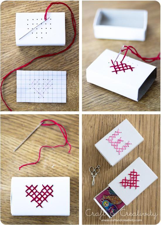 13 DIY Cross Stitched Match Box