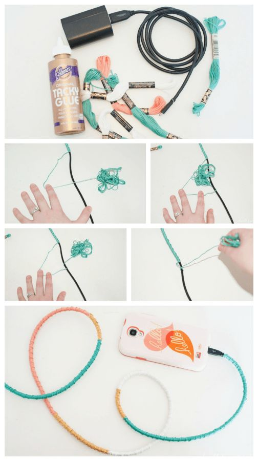 13 DIY Wrapped Charger Cord - Fancy Up Your Phone