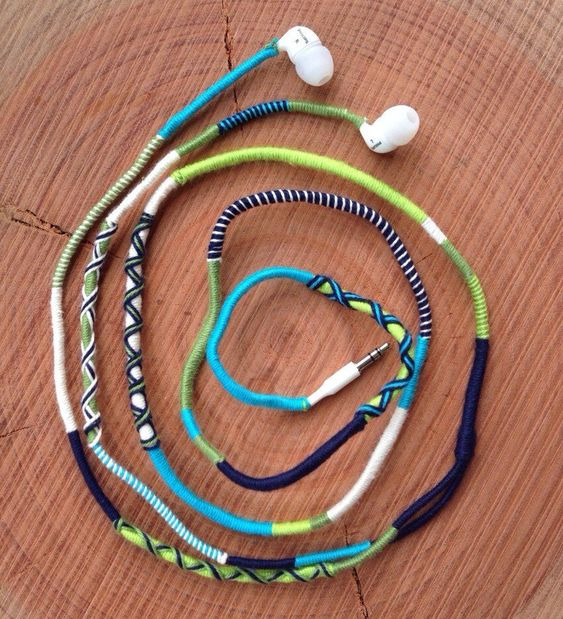 14 Embroidery Floss Wrapped Headphones
