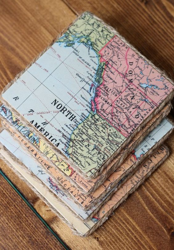 14 Use Vintage Maps to Make These Super Cool Coasters