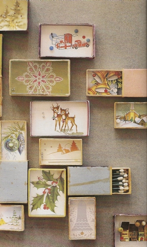2 Vintage Christmas Cards and Shadowbox Ornaments