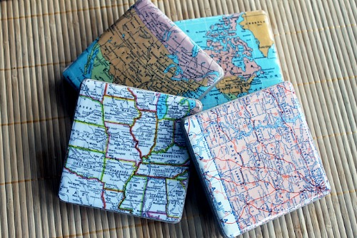 21 DIY Map Coasters
