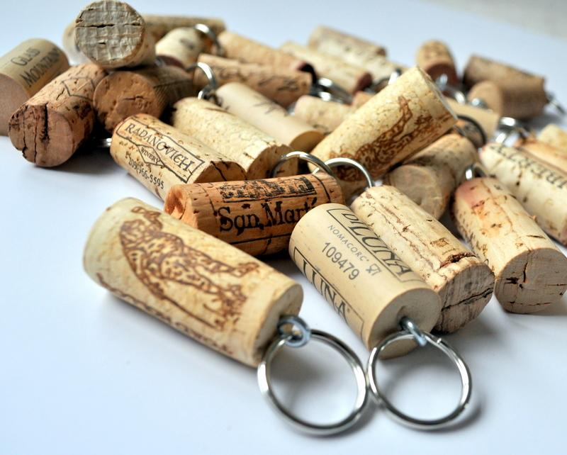 21 Wine Cork Keychains
