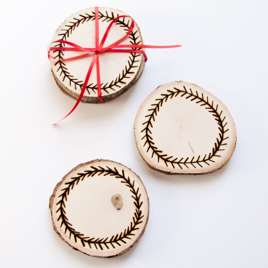 3 DIY Wood Burned Coasters