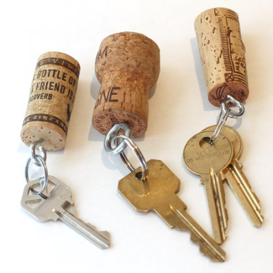 3 Wine Cork Keychains
