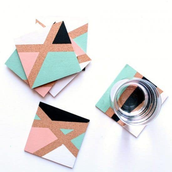 35 chic and sleek geometric cork coasters