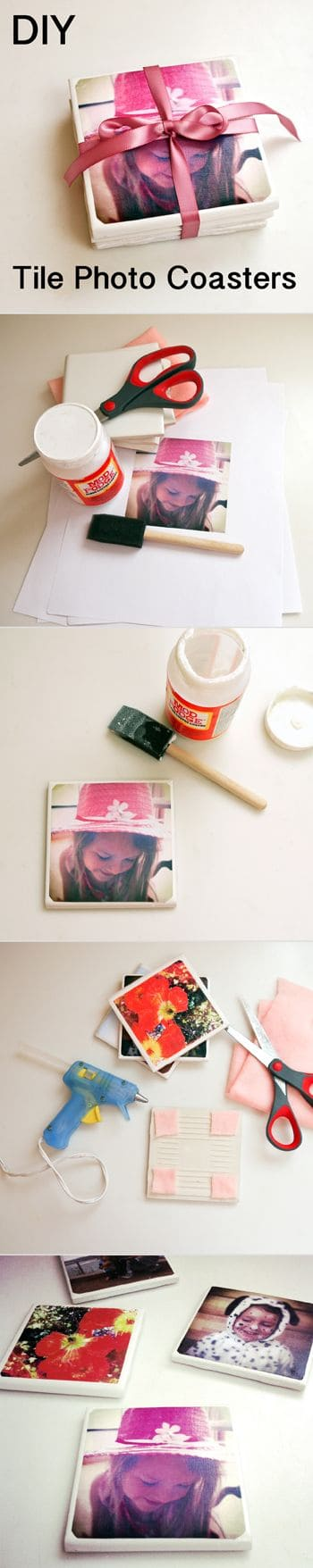 36 simple tile photo coasters for an adorable giveaway