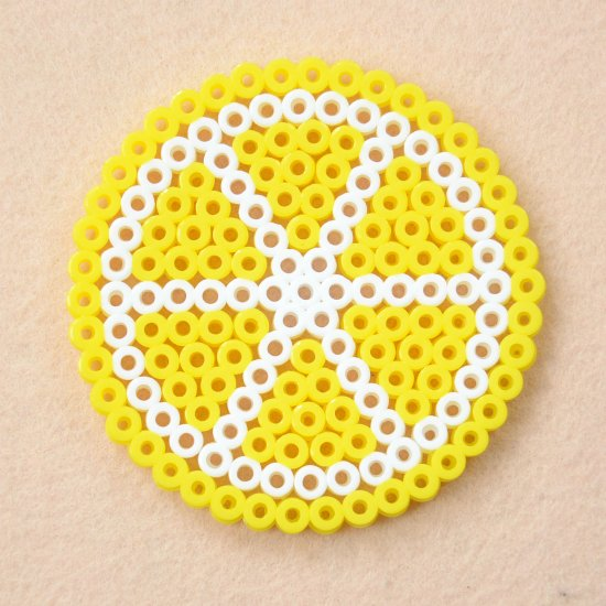 4 Perler Bead Lemon Coasters