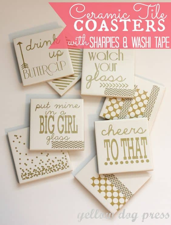 40 personalized ceramic tile coasters with sharpie and washi tape