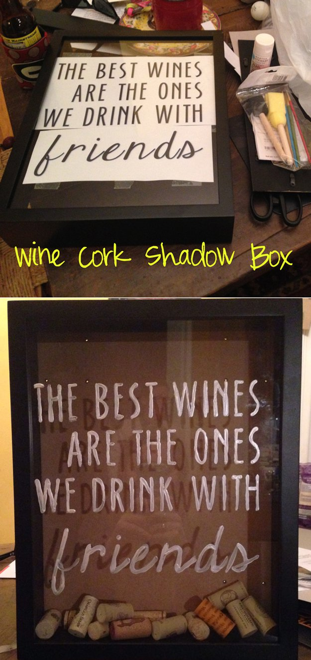 47 Wine Cork Shadow Box