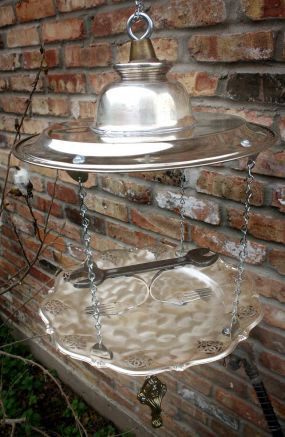 7 Upcycled Silverplate Bird-Feeder
