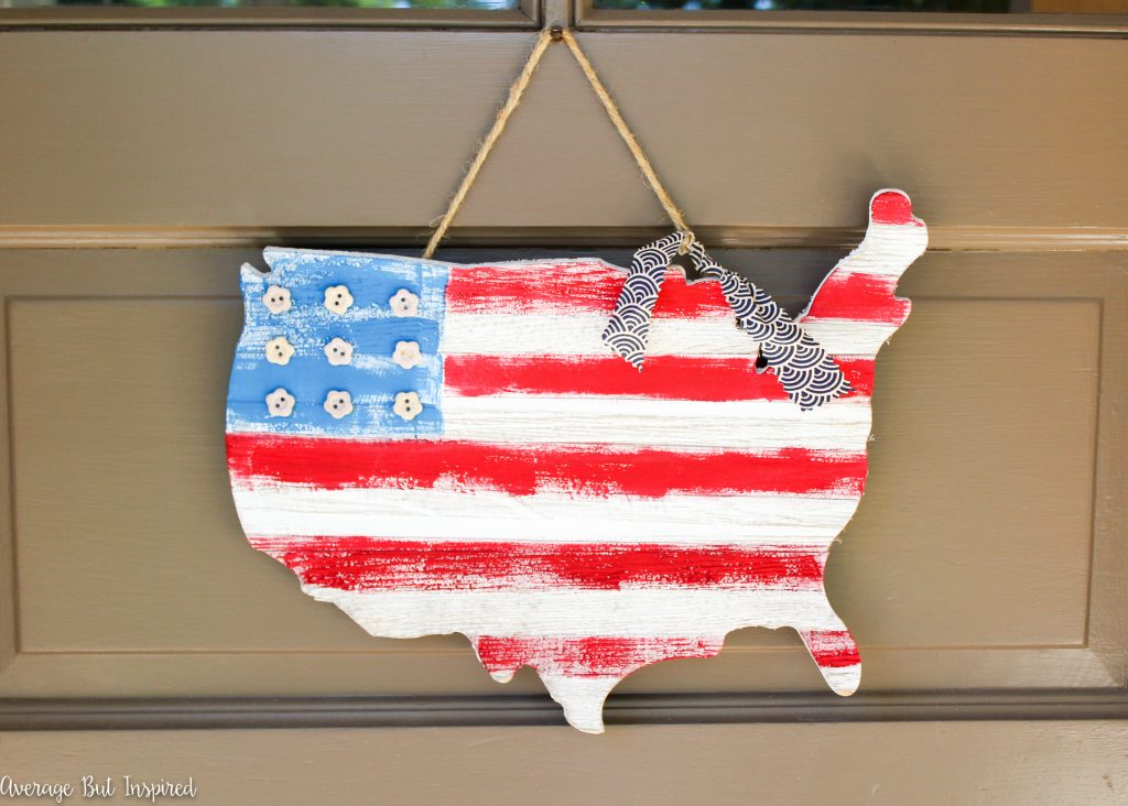 1 USA Wooden Flag Map Door Hanger