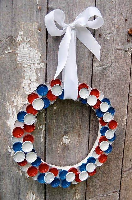 10 4th of July Bottle Cap Wreath
