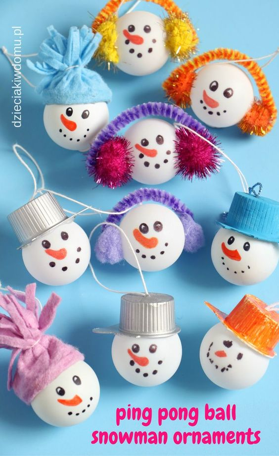 10 ping pong ball snowman
