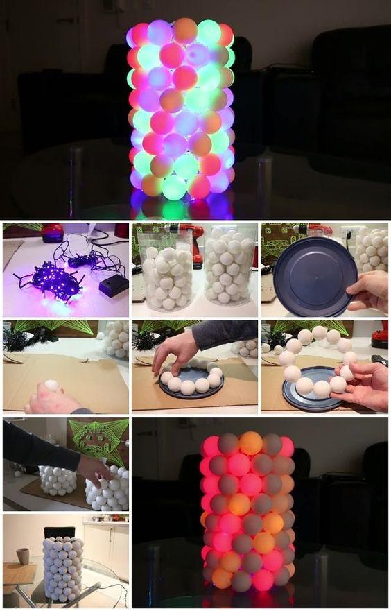 12 Illuminated Ping Pong Ball Lamp