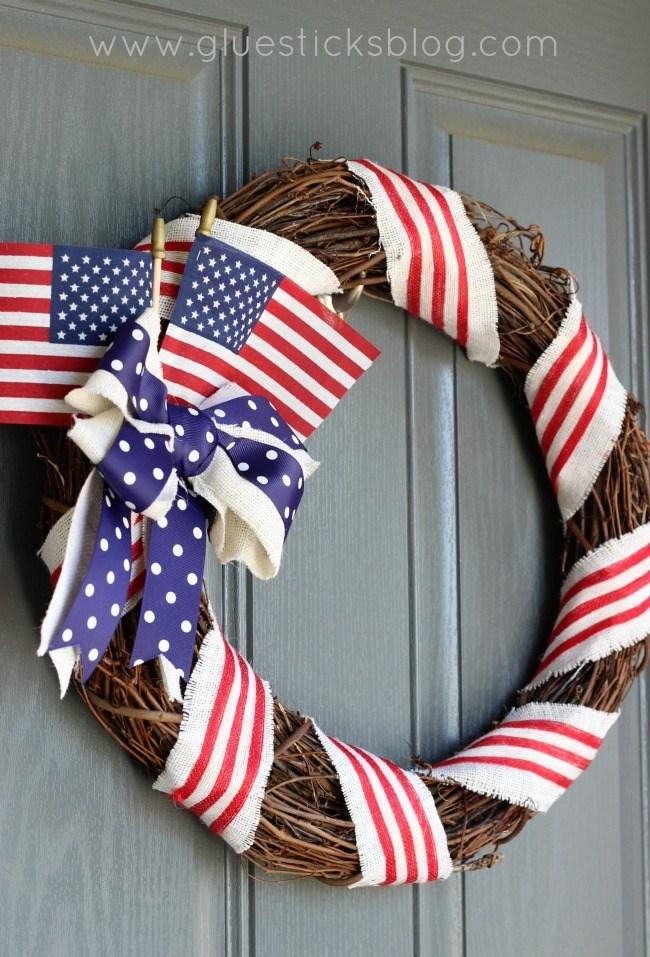 13 Simple Grapevine and Ribbon Patriotic Wreath