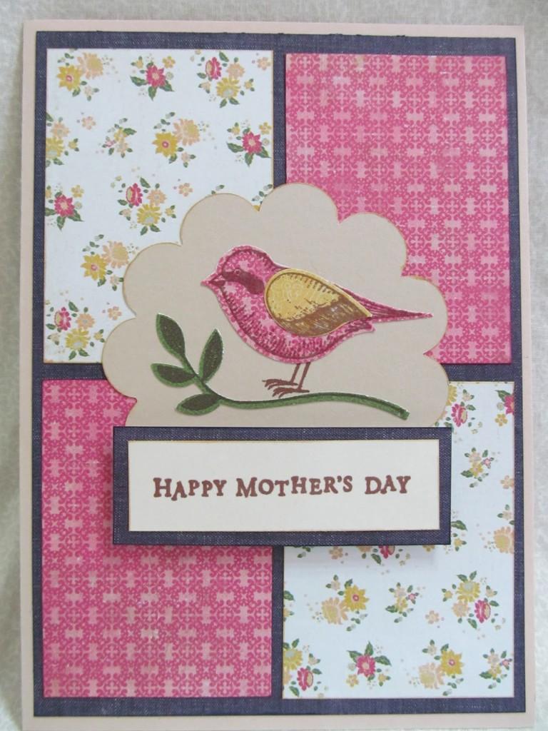 14 Fabric scrap bird card