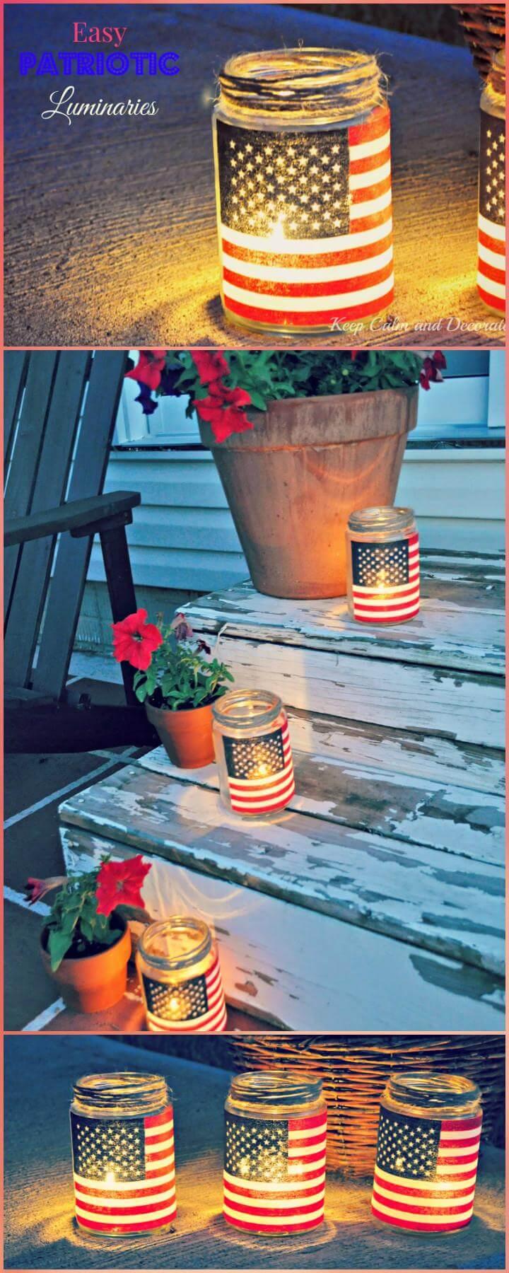 15 DIY Mason Jar Patriotic Luminaries