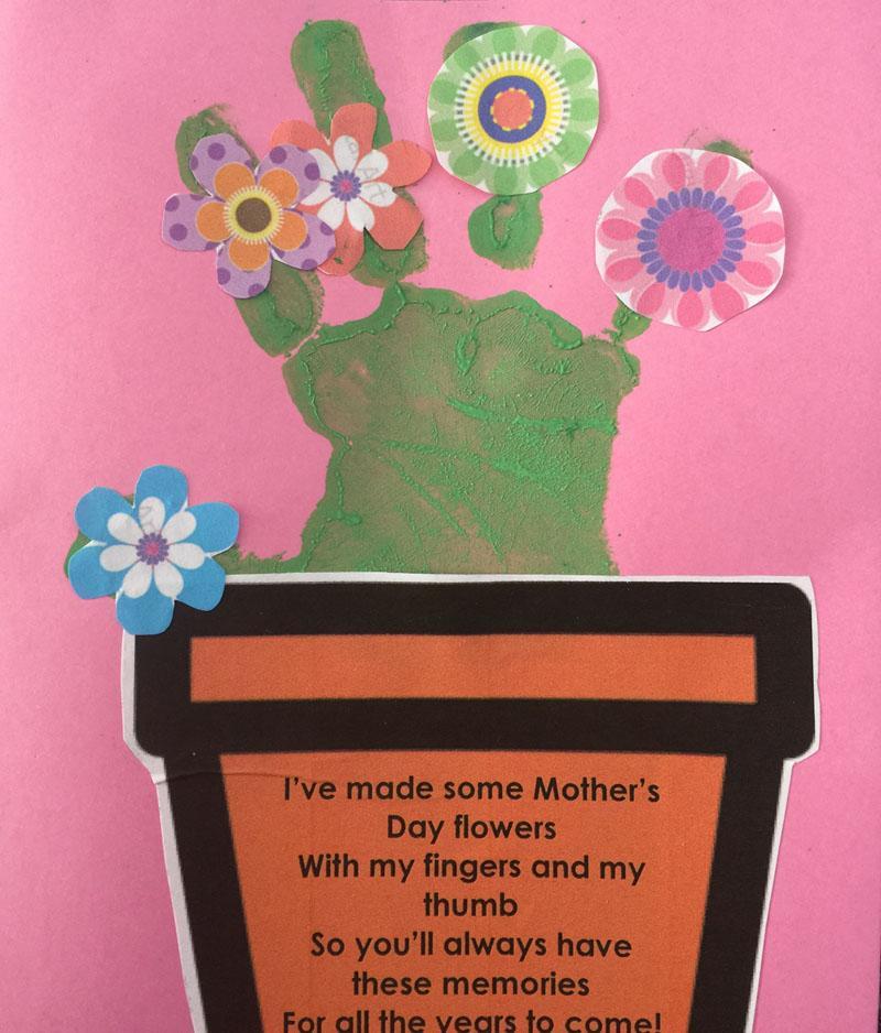 15 Hand print flower pot card
