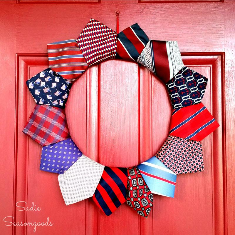 15 Repurposed Patriotic Necktie Wreath