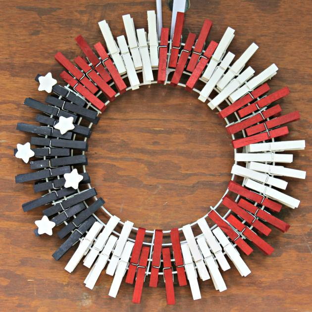 16 Red White and Blue Clothespin Wreath