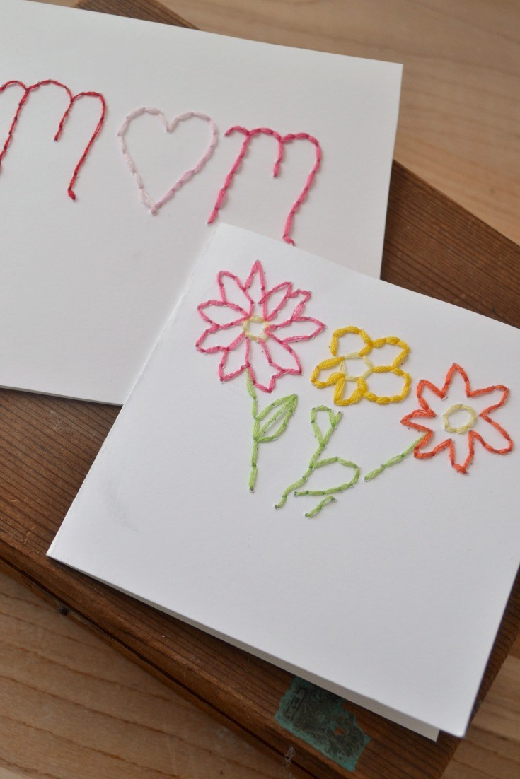 17 Stitched and Embroidered Mother's Day Card